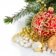 Christmas red and golden heart with evegreen tree — Stock Photo #59214911