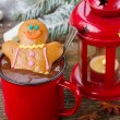 Gingerbread man with hot chocolate — Stock Photo #59284829