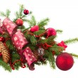 Fir tree with red christmas decorations and cones — Stock Photo #59298529