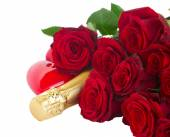 Valentines day  dark red  roses and hearts — Стоковое фото
