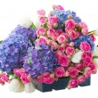 Pile of white tulips, pink roses and blue hortensia flowers — Stock Photo #60266725