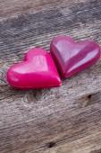два розовых сердца — Стоковое фото