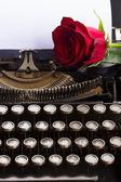 Красная роза на пишущей машинке — Стоковое фото