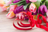 Red hearts and bow — Stock Photo