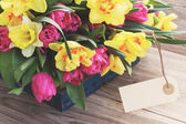 Spring flowers with gift box — Stock Photo