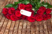 Dark red roses  and tag — Stock Photo