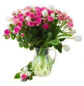 Bunch of  fresh pink roses and white tulips close up — Stock Photo