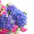 White tulips, pink roses and blue hortensia flowers — Stock Photo #62291911