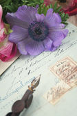 Quill pen and antique letters with anemone flowers — Stock Photo