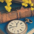 Pile of old books with pocket watch — Stock Photo #70448153