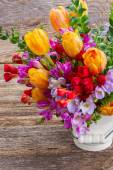 Freesia and  flowers — Stock Photo