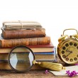 Pile of books with clock — Stock Photo #73513683