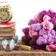 Pile of books with clock — Stock Photo #74007635