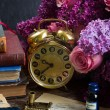 Antique  clock with pile of mail — Stock Photo #75336353