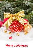 Vánoční koule sněhu — Stock fotografie