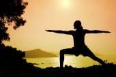 Yoga warrior pose — Stock Photo
