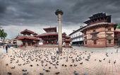 Durbar square panorama in Kathmandu — Stock Photo