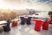 Roof top restaurant in Udaipur — Stock Photo