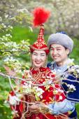 Kazakh love in Spring — Fotografia Stock