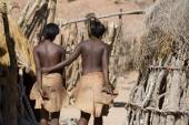 Women of Damara people in cultural village in Damaraland district in Namibia, South Africa — Stock Photo