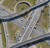 Aerial view of highway interchange of a city — Stock Photo