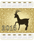 Calendario con una capra nel 2015 con modello vintage — Vettoriale Stock