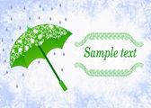 Label design with a green umbrella — 图库矢量图片