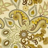 Paisley dark khaki color on a beige background — Vector de stock