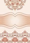 Vintage decorative frame in pink and brown tones — Vector de stock