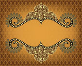 Vintage frame with openwork pattern on yellow brown background — Vector de stock