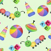 Children bright seamless pattern with toys — Vector de stock