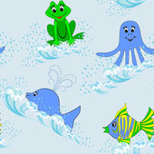 Children seamless pattern with aquatic animals — Stock Vector