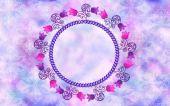 Runde Dekorrahmen dekoriert wirbelt mit Glocken auf verschwommene ba — Stockfoto