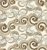 Seamless pattern with wavy curls and swirls with polka dots — Wektor stockowy