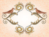 Vintage  frame with birds on a pink blurred  background — Vector de stock