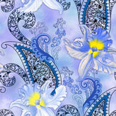 Pattern with blue orchids with a blurred background — Stock Photo