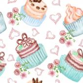 Seamless pattern with cakes decorated with flowers and hearts — Stock Photo