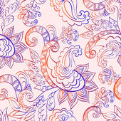 Seamless pattern with paisley in lilac orange tones — Stock Vector