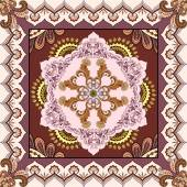 Bandanna with abstract ornament on a brown background — Stock Vector