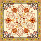 Bandanna with brown orange ornament on beige background — Stock Vector