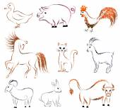 Set of contour animals - birds and mammals — Stock Vector