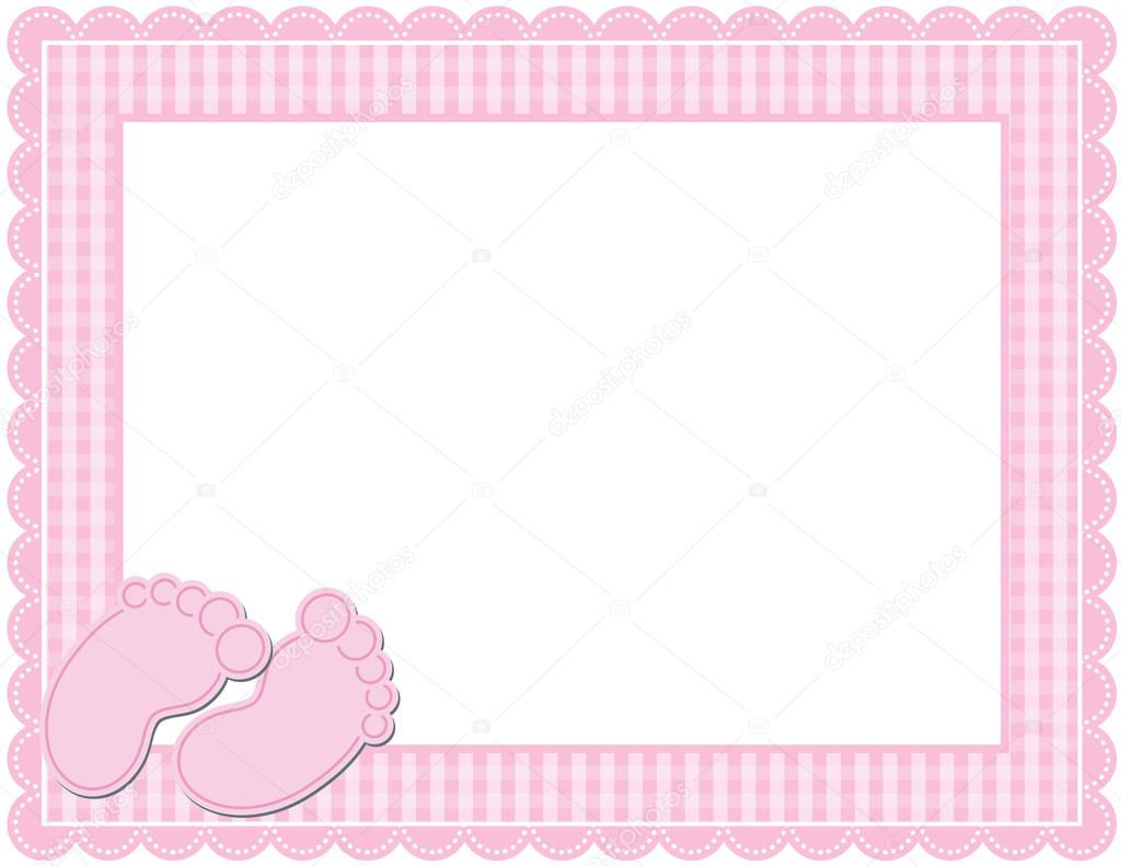 baby photo collage ideas download - Baby Girl Gingham Frame — Stock Vector © adamsl