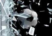 Broken glass 3D Soccer Ball 2 — Stock Photo