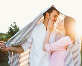 Happy and young pregnant couple — Stok fotoğraf
