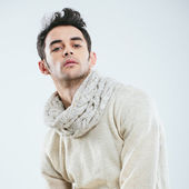 Fashionable man in winter knitted clothes — Stock Photo