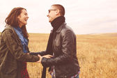 Landscape portrait of young beautiful stylish couple sensual and — Stock Photo