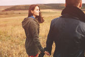 Landscape portrait of young beautiful stylish couple sensual and — Stock Photo