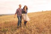 Landscape portrait of young beautiful stylish couple sensual and — Stok fotoğraf