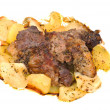 Barbecue meat with potato close-up as food background — Stock Photo #63684789