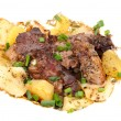 Barbecue meat with potato close-up as food background — Stock Photo #63684801